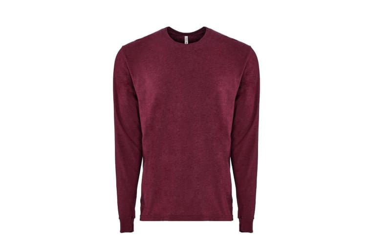 Next Level Adults Unisex Suede Feel Long Sleeve Crew T-Shirt (Heather Maroon) (M)