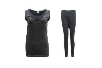 Women Mens 2PCS SET Merino Wool Sleeveless Singlet Top Pants Thermal Pajamas PJs - Women's Set - Black