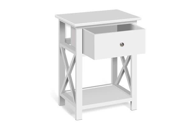 Artiss Rustic Bedside Table (White)