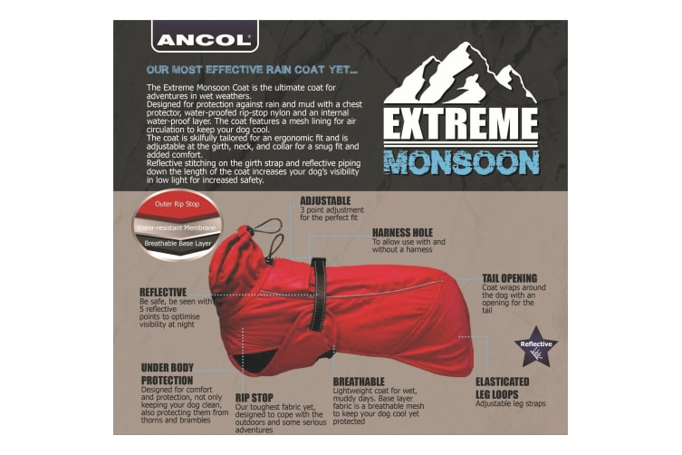 Ancol Muddy Paws Extreme Monsoon Dog Coat (Red) (S)