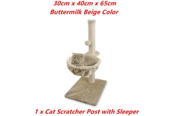 Beige Cat Scratching Post Plush Sleeper Tree House Toy Bed Pet Kitten Scratcher Sisal