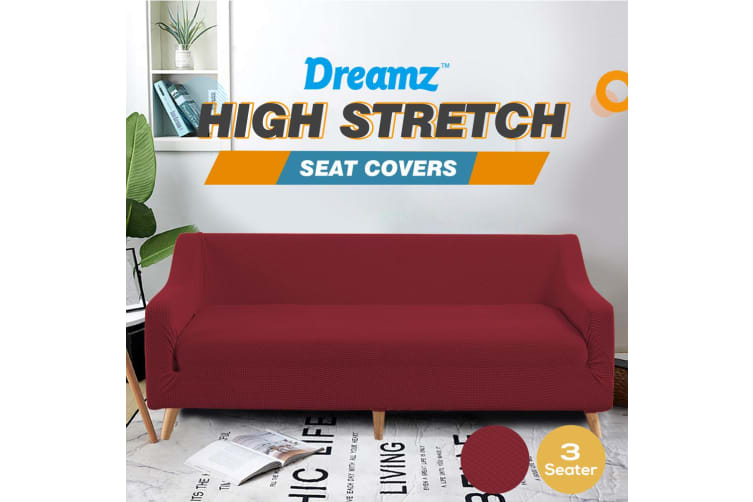 Dreamz Couch Stretch Sofa Lounge Cover Protector Slipcover 3 Seater Wine New