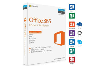 Microsoft Office 365 Home 1Yr Subscription Medialess Up to 5 Users for Windows iOS Android - 6GQ-00929