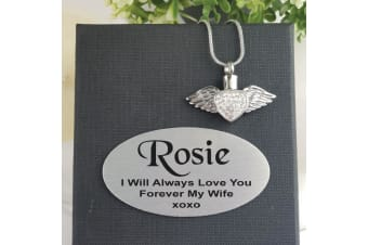 Heart Wings Urn Cremation Ash Necklace in Personalised Box
