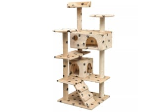vidaXL Cat Tree with Sisal Scratching Posts 125 cm Paw Prints Beige