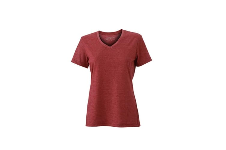 James and Nicholson Womens/Ladies Heather T-Shirt (Wine Red Melange) (M)