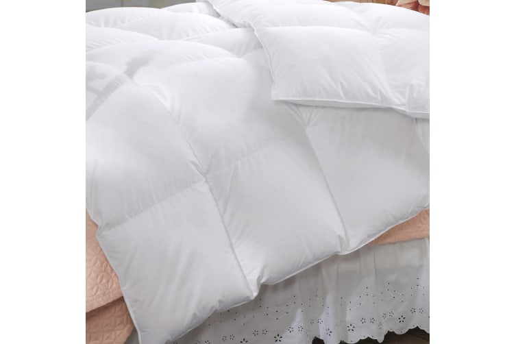 Duck Feather & Down Quilt 500GSM + Duck Feather and Down Pillows 2 Pack Combo - Super King - White