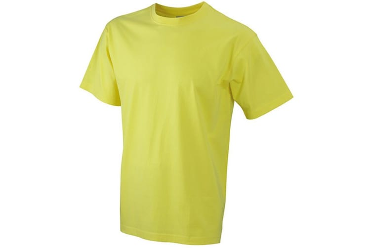 James and Nicholson Unisex Heavy Round Tee (Yellow) (L)