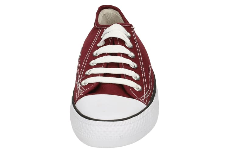 Spot On Childrens/Kids Low Cut Canvas Lace Up Shoes (Burgundy) (2 UK)
