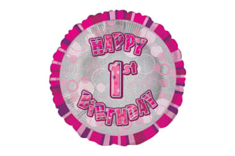 Unique Party 18 Inch Circle Pink Happy Birthday Foil Balloon (Pink)