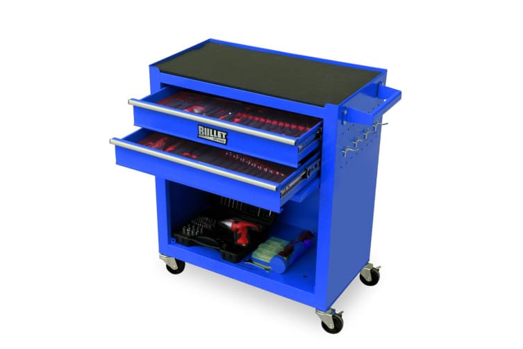 BULLET Tool Kit Chest Cabinet Box Set Storage Metal Wheels Rolling Drawers Steel Blue