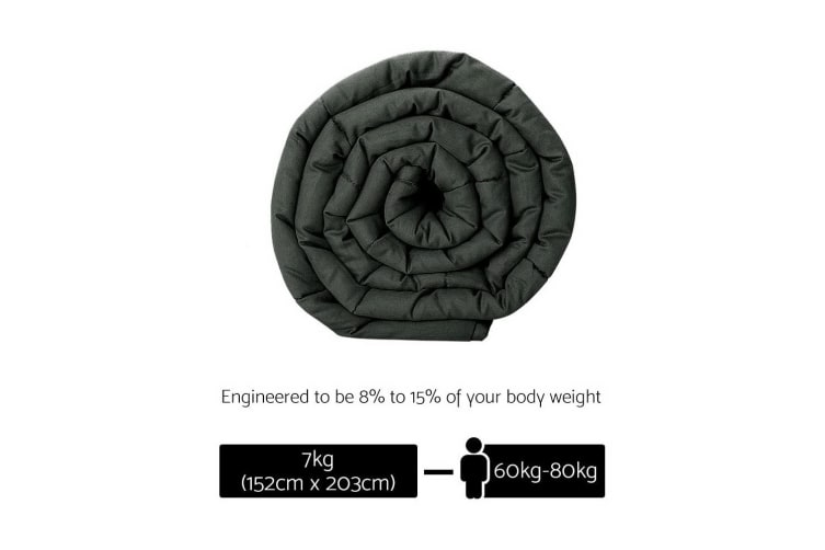 Giselle Bedding 7KG Cotton Weighted Blanket Deep Relax Sleeping Gravity Adult Black