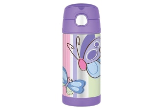 Thermos Funtainer 355ml Insulated Stainless Steel Water Bottle Purple Butterfly