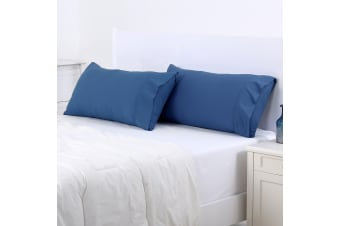 Dreamaker 250TC Plain Dyed King Size Pillowcases - Twin Pack - 90X50cm Blue