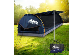 Weisshorn Double Camping Swags Canvas Swag Tent w/ Mattress Dark Blue