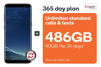 Samsung Galaxy S8 Refurbished (64GB, Midnight Black) + Kogan Mobile Prepaid Voucher Code: EXTRA LARGE (365 Days | 40GB Per 30 Days)