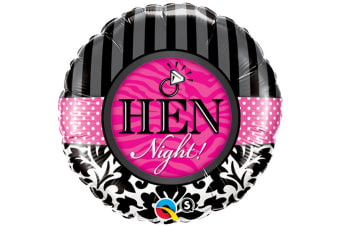 Qualatex 18 Inch Hen Party Stripe & Damask Pattern Circular Foil Balloon (Black/White/Fuchsia) (One Size)