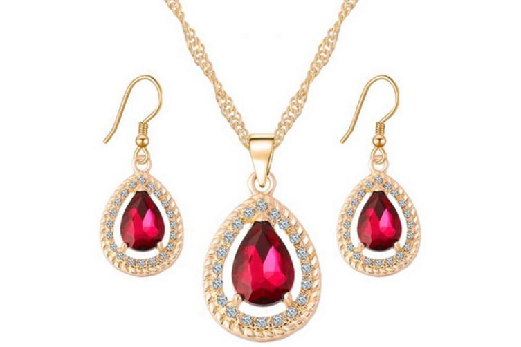 Crystal Teardrop Bridal Necklace Earrings fashion jewelry sets  Red