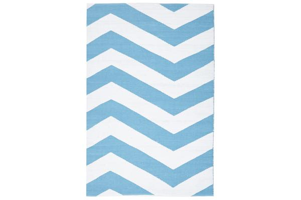 Coastal Indoor Out door Rug Chevron Turquoise White 270x180cm