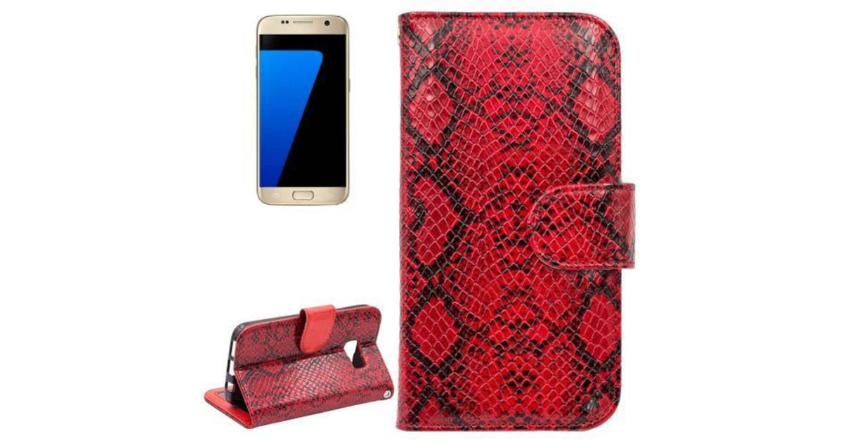 buy popular 56458 08c86 For Samsung Galaxy S7 Wallet Case Snakeskin Textured Durable Leather Cover  Red | Phone Cases
