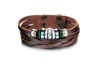 Genuine Leather Wrap Bracelet 12-Leather/Brown
