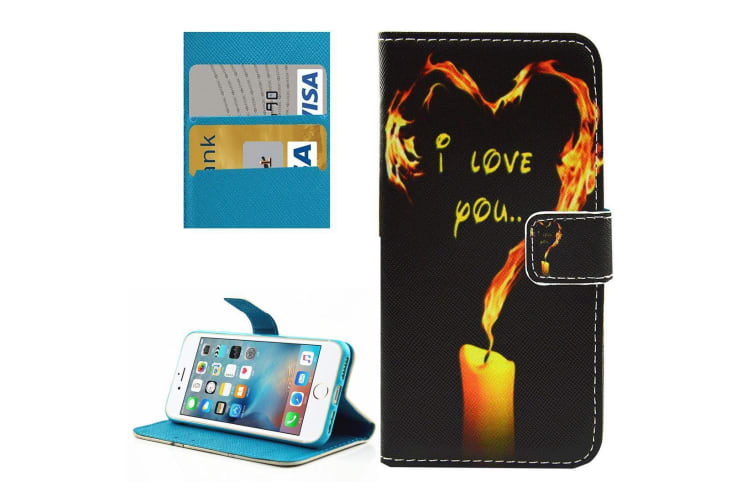 For iPhone 8 7 Wallet Case Stylish Love Candle Durable Protective Leather Cover