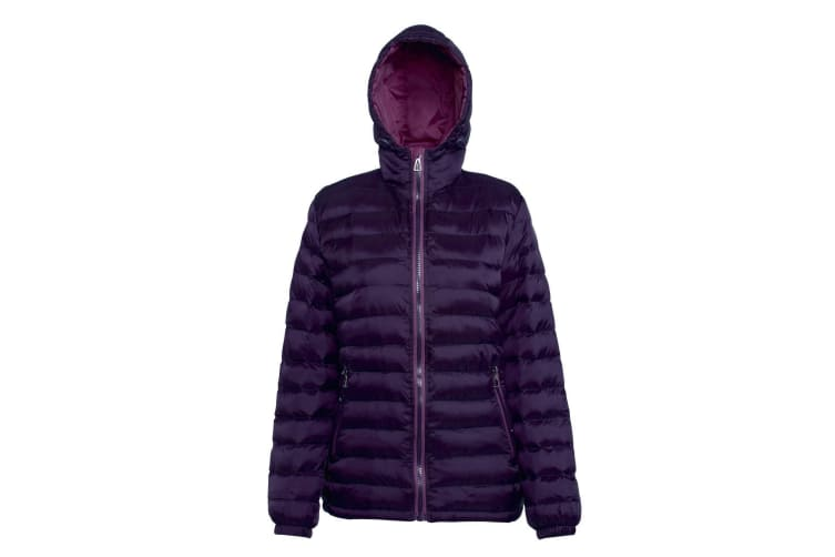 2786 Womens/Ladies Hooded Water & Wind Resistant Padded Jacket (Aubergine/Mulberry) (M)