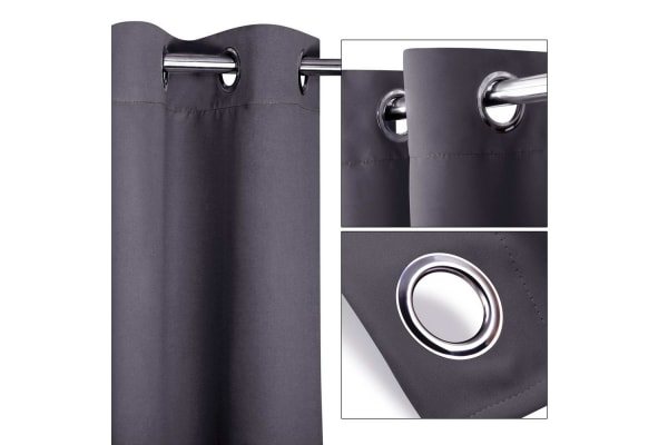 Set of 2 300CM Blockout Eyelet Curtain (Grey)