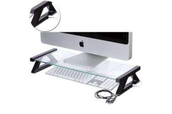 Esselte 57cm Glass Computer LCD Monitor Riser Holder Desktop Stand w USB Hub BLK