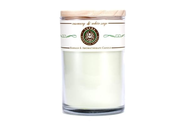 Terra Essential Scents Massage & Aromatherapy Candle - Rosemary & White Sage (350ml/12oz)