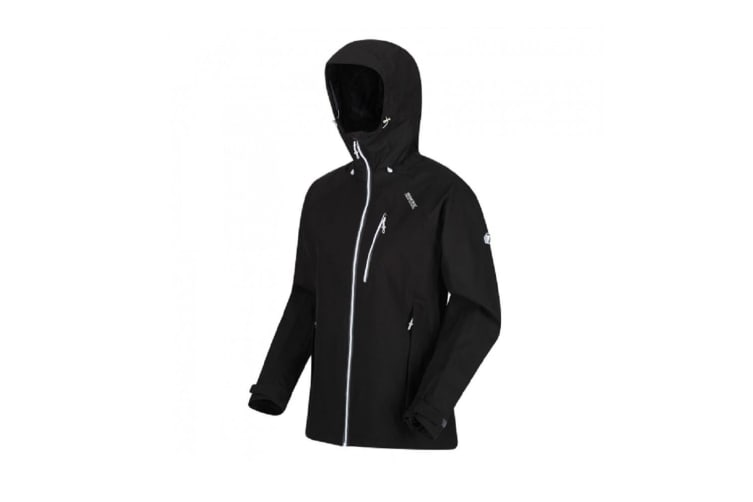 Regatta Womens/Ladies Birchdale Waterproof Shell Jacket (Black/White) (12 UK)