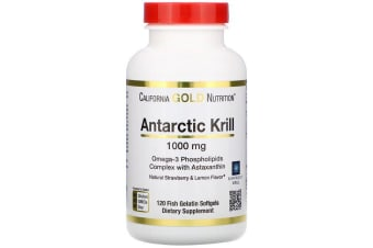 California Gold Nutrition Antarctic Krill Oil Natural Strawberry & Lemon Flavour - 1,000 mg, 120 Fish Gelatin Softgels