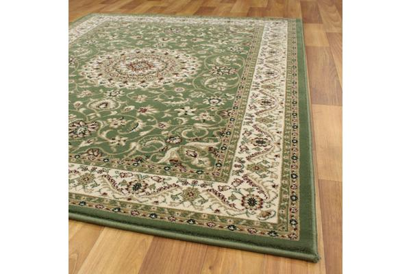 Medallion Rug Green with Ivory Border 290x200cm