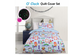 Glow In The Dark O'clock Quilt Cover Set