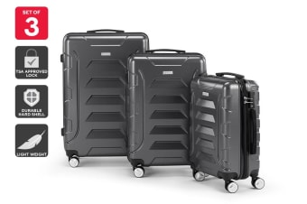 Orbis 3 Piece Palawan Spinner Luggage Set (Grey)
