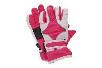 FLOSO Childrens/Kids Girls Heavy Duty Waterproof Padded Thermal Ski/Winter Gloves (Pink) (9-12 Years)