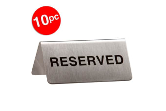 10pc Esselte Stainless Steel Reserved Signs f/ Venue/Restaurants/Events Sliver
