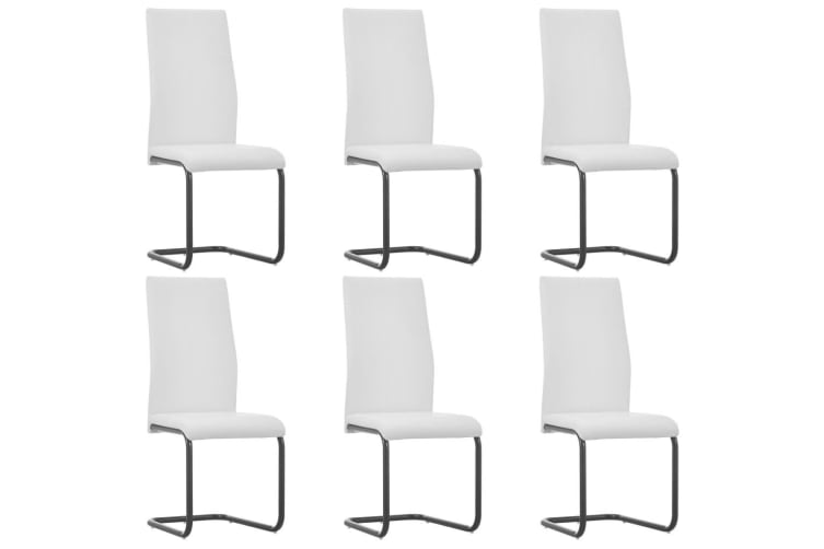 vidaXL Dining Chairs 6 pcs White Faux Leather