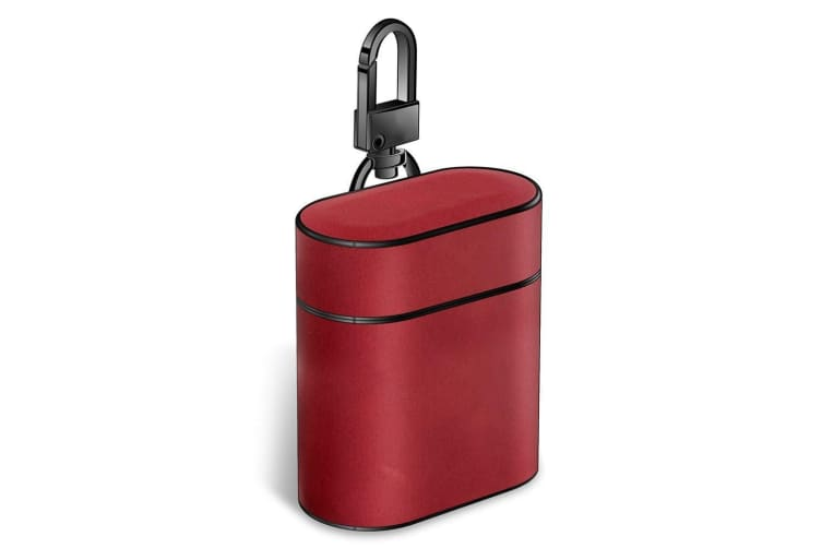 For Apple AirPods 1/2 Case Red Genuine Leather Protective Earphones Box
