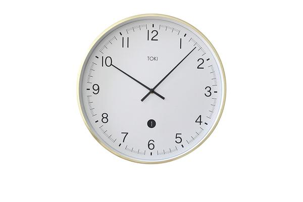Toki Mina Silent Sweep Wall Clock w/ Date 40cm Brushed Gold