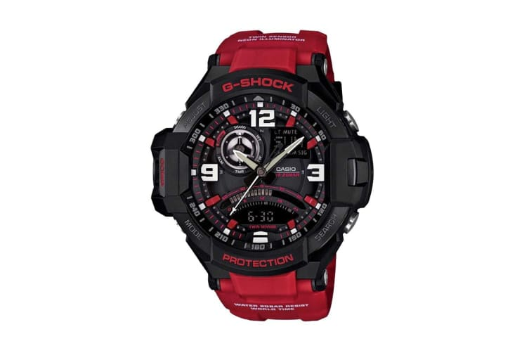 Casio G-Shock Analog Digital Gravity Defier Watch with Resin Band - Black/Red  (GA1000-4B)