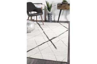 Amelia Bone Ivory & Grey Scandi Durable Rug 230x160cm
