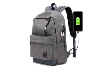 Waterproof Backpack With Usb Charging Port And Lock & Headphone Compartment Dark Grey