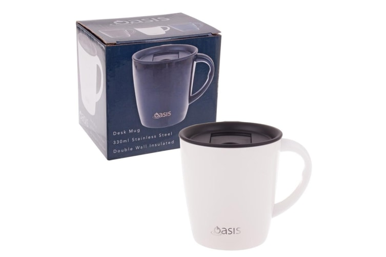 NEW Oasis Stainless Steel Double Wall Insulated Desk Mug 330ml White