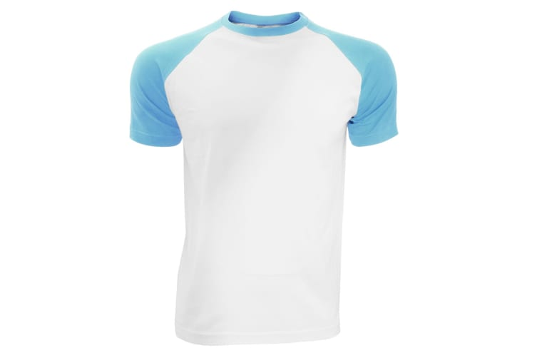 SOLS Mens Funky Contrast Short Sleeve T-Shirt (White/Blue Atoll) (XL)