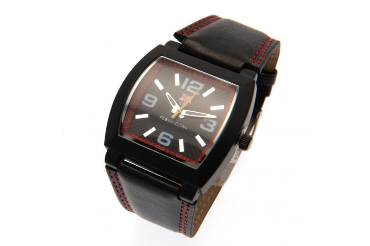 FC Barcelona Mens Leather Analogue Watch (Black/Red) (One Size)