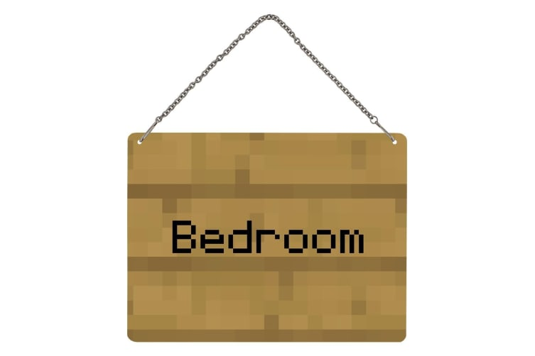 Grindstore Bedroom Note Pixel Mini Tin Sign (Brown) (One Size)