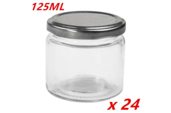 24 x Small Round Glass Jars 125ml Lid Lolly Honey Spice Canister Conserve Jar Bulk