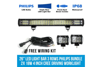 """Elinz 26"""" LED Light Bar 3 Rows Philips bundle 2x 18W 4 inch CREE Driving Worklight"""