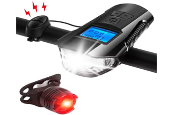 Bike Light Set Bike Lights Front and Back Bicycle Speedometer Bike Light Odometer USB Rechargeable Bicycle Headlight